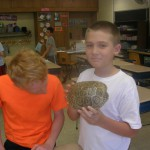 Two students inspect a Diamondback Terrapin turtle shell.