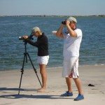 CWF Beach Nesting Bird Monitor Kate Guerena and I count shorebirds at the tip of Stone Harbor Point.