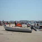 Champagne Island, a sandbar between North Wildwood and Stone Harbor, sometimes accretes enough sand to allow nesting attempts by some of our endangered birds.  Signage, symbolic fencing, and a CWF monitor are sometimes necessary to prevent human disturbance at this popular boater destination.