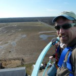 Here Ben Wurst, CWF Habitat Program Manager, and I evaluate  the Bayside State Prison water tower as a potential nesting box site for Peregrine Falcon.
