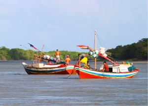 These colorful fishing boats, typical of the region, are powered by one-cylinder engines similar to those that served as workhorses of small boats 50 years ago in the United States. Some rely on sail power alone.