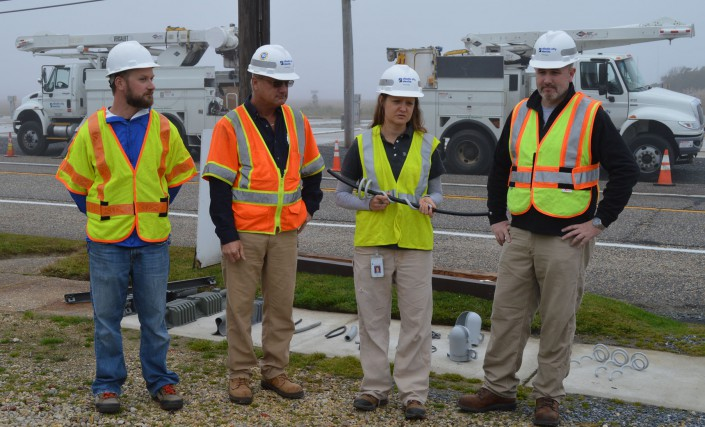 Photo Credit: Atlantic City Electric. Pictured left to right are Ben Wurst, wildlife biologist, Conserve Wildlife Foundation of New Jersey; Ed Kaminski, senior supervising engineer, ACE; Cristina Frank, lead environmental scientist, ACE; and Mike Garrity, senior supervising scientist, ACE.
