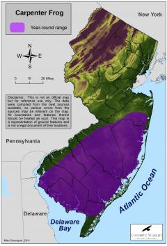 Image of Range of the carpenter frog in New Jersey.