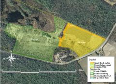 Image of Map of the proposed habitat restoration activities inside Tuckahoe WMA.