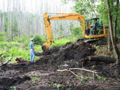 Image of An excavator removes milled asphalt from the edge of freshwater wetlands.