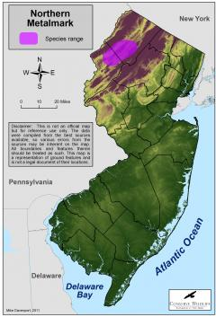 Image of Range of the northern metalmark in New Jersey.