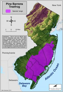 Image of Range of the Pine Barrens treefrog in New Jersey.