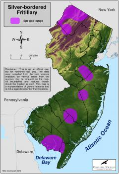 Image of Range of the silver-bordered fritillary in New Jersey.