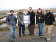 Image of Gene Muller, President of Flying Fish is presented with a Certificate of Appreciation from CWF for donating $15,000 to our post-Sandy wildlife restoration efforts in New Jersey. From left to right: Ben Wurst, Gene Muller, David Wheeler, Stephanie Egger, Todd Pover.