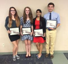 Image of The 2015 Species on the Edge 2.0 Multimedia Contest winners (from left to right) Kayleigh Young, Victoria Momyer, Priyanshi Jain and David Tattoni.