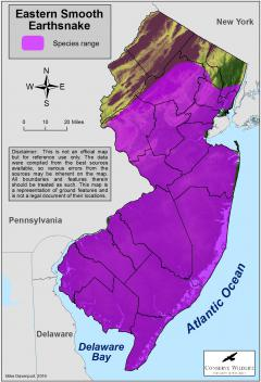 Image of Range of the eastern smooth earthsnake in New Jersey.