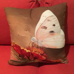 Image of Checkered White Butterfly pillow