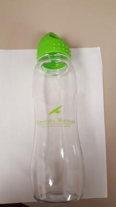 Image of 25 oz./750 ml poly-pure slim grip bottle with Conserve Wildlife Foundation logo is contoured for easy handling on the go. Molded with dishwasher-safe, BPA free Tritan. Made in USA.