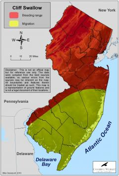 Image of Range of the cliff swallow in New Jersey.