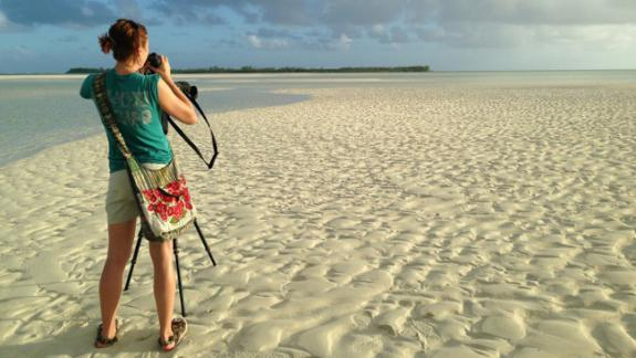 Image of CWF Biologist Stephanie Egger sports an official CWF shirt while conducting surveys for piping plovers in the Bahamas.