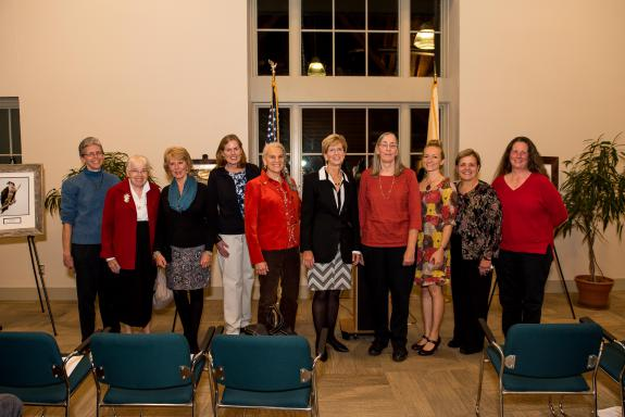 Image of The Honorable Christine Todd Whitman with past and present Women & Wildlife Award winners, representing a decade of strong female leaders in wildlife conservation. From left to right: Dr. Erica Miller, Edith Wallace, Linda Tesauro, Kathy Clark, Amy S. Greene, the Honorable Christine Todd Whitman, Pat Hamilton, MacKenzie Hall, Tanya Oznowich, and Diane Nickerson.