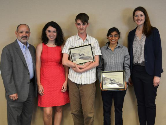 Image of From left to right: CWF board member, PSEG manager Russ Furnari, CWF communications Manager Lindsay McNamara, first place winner Joseph Hernandez, third place winner Maya Ravichandran and PSEG Program Officer Lisa Gleason. Not pictured: second place winner Spencer Monhollen.