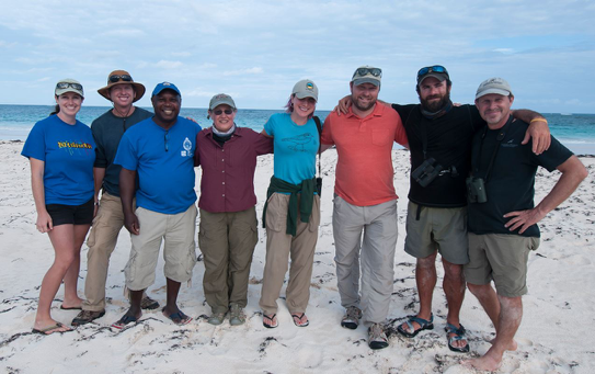 Image of Conserve Wildlife Foundation of New Jersey partners with National Audubon Society and Virginia Tech for the Bahamas Piping Plover banding effort on Abaco, The Bahamas. Pictured from left to right: Gabrielle Manni and Matt McCoy (Loggerhead Productions), Marcus Davis (Bahamas National Trust), Anne Hecht (U.S. Fish and Wildlife Service), Stephanie Egger (CWFNJ), Matt Jeffrey (National Audubon Society), Dan Catlin (Virginia Tech) and Todd Pover (CWFNJ) Not pictured, Walker Golder (North Carolina Audubon Society).