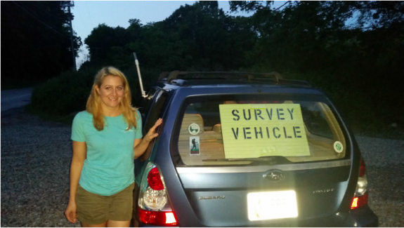 Image of Mobile acoustic volunteer Nicole Dion ready to conduct survey.